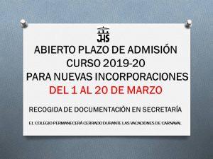 Abierto plazo admisión nuevo alumnado 2019-20 del 1 al 20 de marzo @ Colegio Cristo Rey ferrol