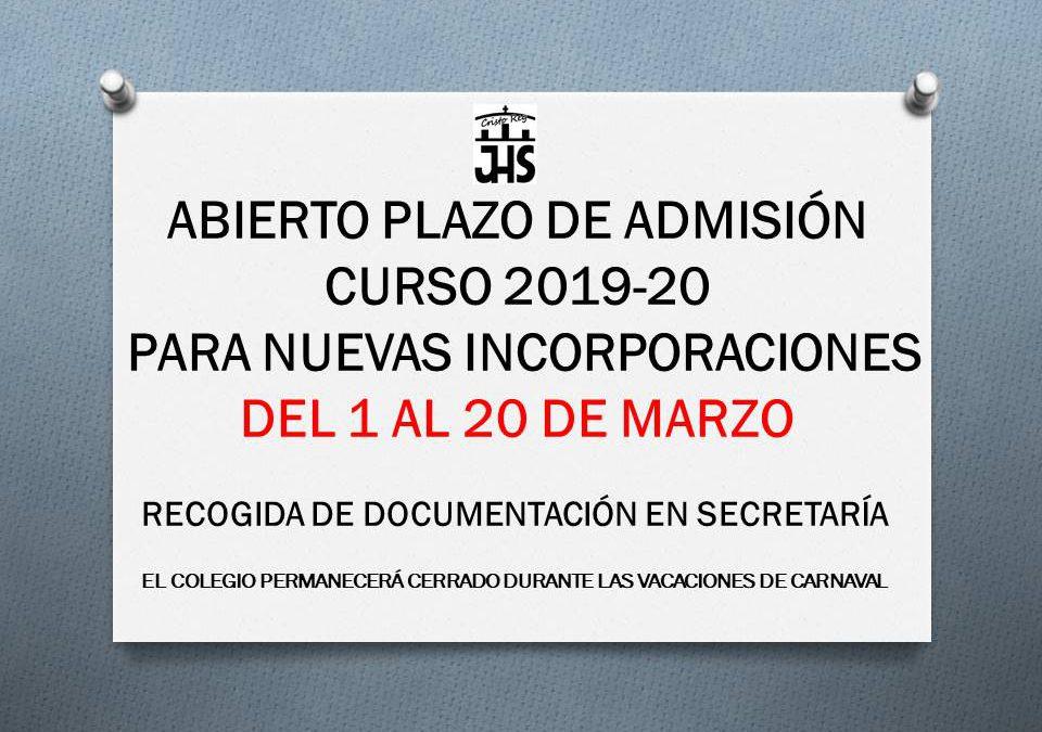 Abierto plazo admisión nuevo alumnado 2019-20 del 1 al 20 de marzo