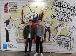 """O alumno Anxo Santos González resultou gañador do concurso de coca cola """"Xoves talentos 2019""""."""